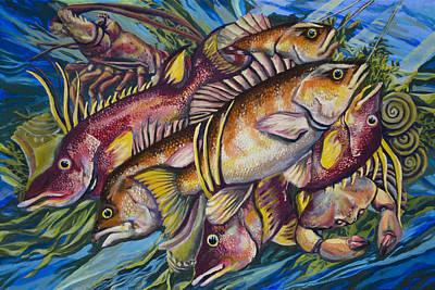 Fish Underwater Painting - Baited Breath by Tyler Auman