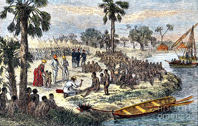 Baker Liberating Slaves In Africa, 1869 Art Print by Photo Researchers