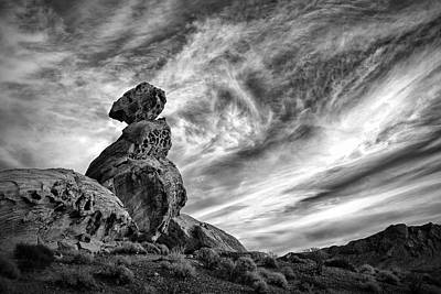 Valley Of Fire Photograph - Balanced Rock In Black And White by Gary Zuercher