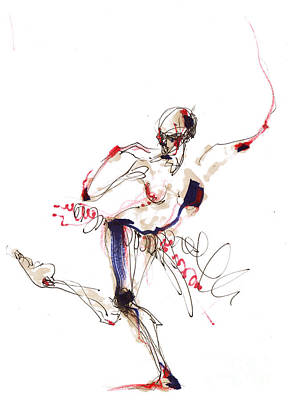 Ballet Drawing - Balancing Body Structure In Red White And Blue by Lousine Hogtanian