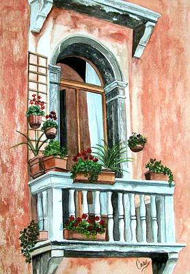 Painting - Balcony In Venice by Karen Casciani