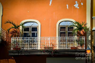 Balcony With Palms Art Print by Perry Webster