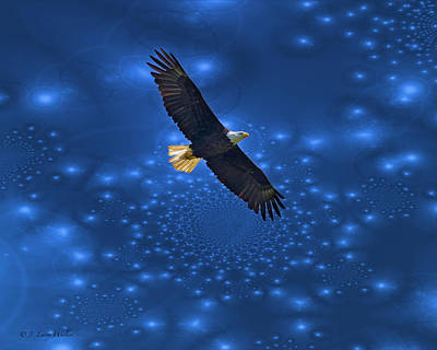 Digital Art - Bald Eagle Soaring Through Space by J Larry Walker