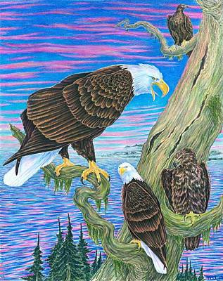 Yellowstone Drawing - Bald Eagles On Lake Yelowstone by Tim McCarthy