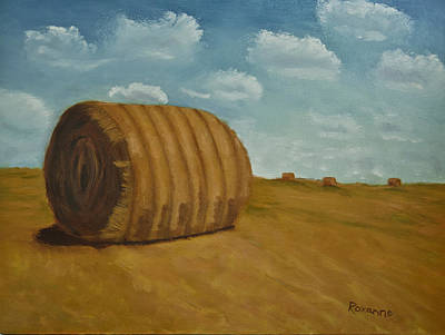 Midwest Painting - Bales Of Hay by Roxanne Weber