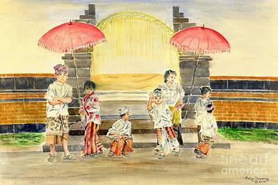 Painting - Balinese Children In Traditional Clothing by Melly Terpening