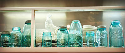 Photograph - Ball Jars And White Rooster by Paulette B Wright