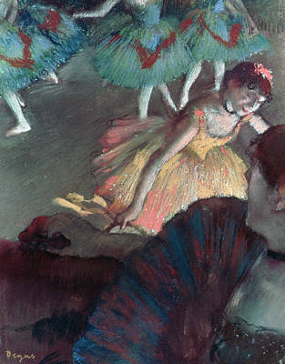 Ballerina And Lady With A Fan Art Print by Edgar Degas