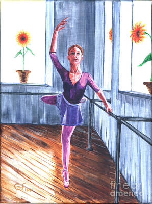Painting - Ballerina With Sunflowers by Gail Finn