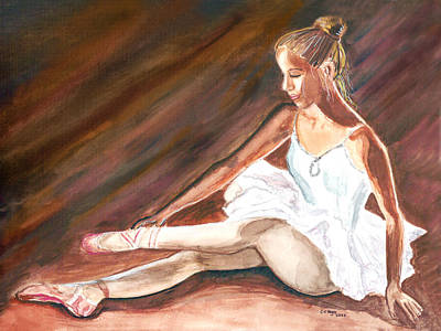 Art Print featuring the painting Ballet Dancer by Clara Sue Beym