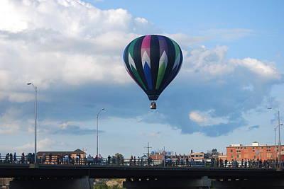 Balloon Over The Bridge Art Print by Alan Holbrook
