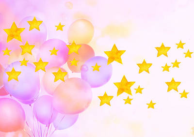 Y120831 Photograph - Balloons And Stars by sozaijiten/Datacraft