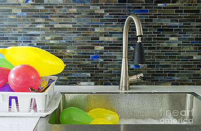 Soap Dish Photograph - Balloons In A Kitchen Sink by Marlene Ford