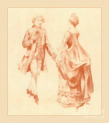 Ballroom Drawing - Ballroom Dance Circa 1700s by Anne Kitzman