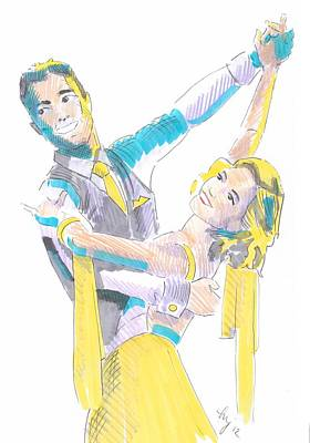 Drawing - Ballroom Dancers Illustration by Mike Jory