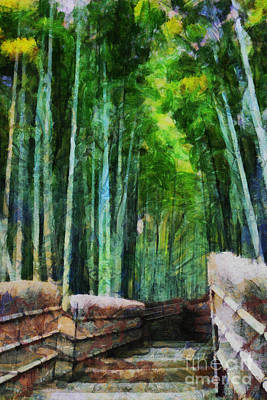 Bamboo Fence Digital Art - Bamboo Forest by Cathleen Cawood