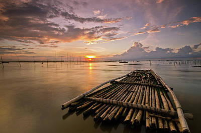 Raft Photograph - Bamboo Raft by Landscape Artist