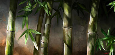 Bamboo Mixed Media - Bamboo Stalks by Steve Goad