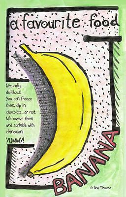 Print featuring the drawing Banana by Ana Tirolese