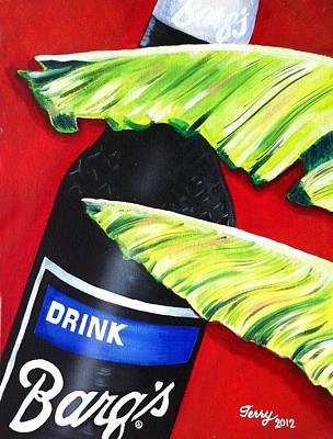 Painting - Banana Leaf Series - Barq's Rootbeer by Terry J Marks Sr