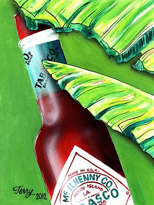 Painting - Banana Leaf Series - Tabasco Bottle by Terry J Marks Sr