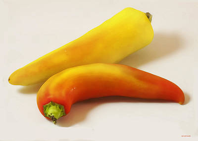 Banana Peppers Photograph - Banana Peppers by Ron Jones