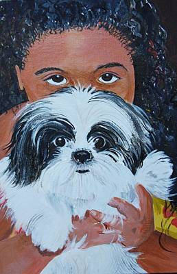 Bandit And Me Art Print by Peggy Patti