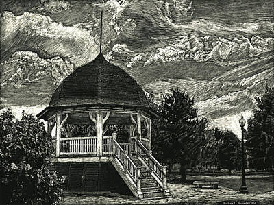Drawing - Bandstand On The Commons by Robert Goudreau
