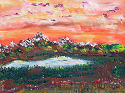 Rockies Painting - Banff Sunsets by James Bryron Love