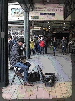 Banjo Busker At The Market Print by Tim Allen