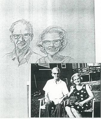 Bank Gal Parents Portrait Art Print by Valerie VanOrden