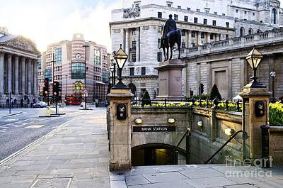 Lamppost Photograph - Bank Station Entrance In London by Elena Elisseeva