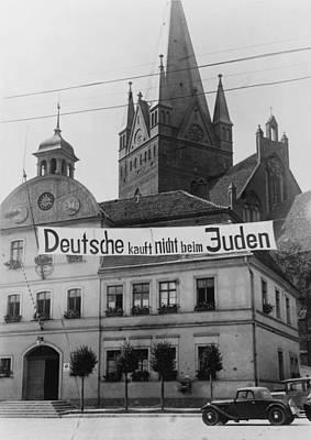 Banner Reading Deutsche Kauft Nich Beim Art Print by Everett