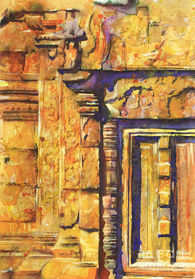 Painting - Banteay Srei Doorway by Ryan Fox
