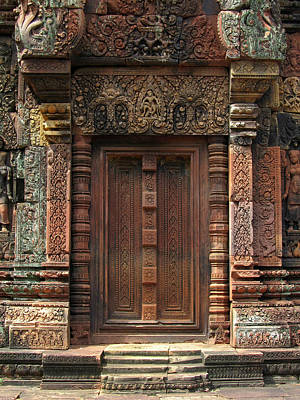 Holiday Mugs 2019 Royalty Free Images - Banteay Srei Temple False Door 1 Royalty-Free Image by Mark Sellers