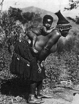 Woman And Baby Photograph - Bantu Tribe by Henry Guttmann