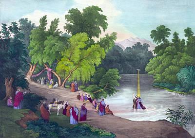 Baptism Of Jesus Christ In The River Art Print by Everett