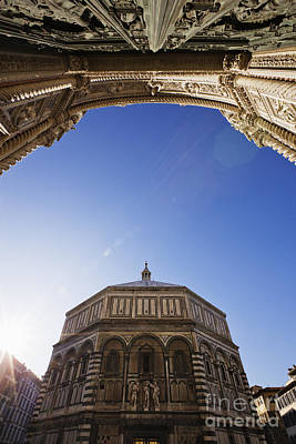 Carving In Stone Photograph - Baptistry And The Duomo From The Duomo Steps by Jeremy Woodhouse