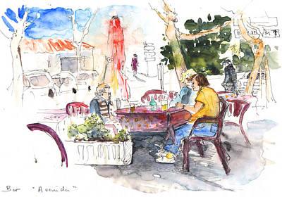 Impressionism Drawings - Bar Avenida en El Albir in Spain by Miki De Goodaboom