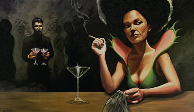 Angels Smoking Painting - Bar Fly by Joe Pagac