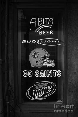 Bar Window Display With Neon Signs In French Quarter New Orleans Black And White Art Print by Shawn O'Brien