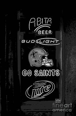 Bar Window Display With Neon Signs In French Quarter New Orleans Cutout Digital Art Art Print by Shawn O'Brien