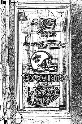 Bar Window Display With Neon Signs In French Quarter New Orleans Stamp Digital Art Art Print by Shawn O'Brien