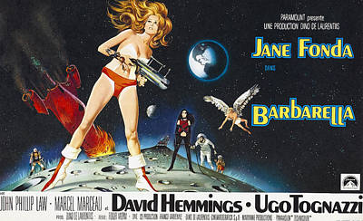 Barbarella, Jane Fonda On Poster Art Art Print by Everett