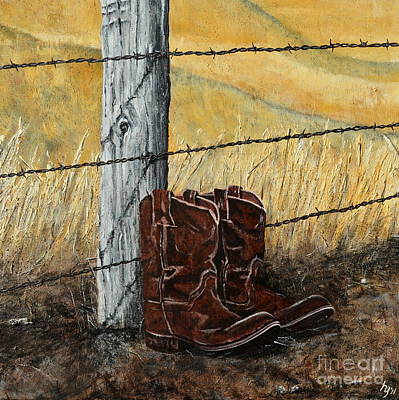 Painting - Barbed Wire And Boots by Holly York