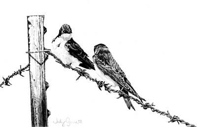 Barbed Wire Courtship Art Print by Judy Garrett