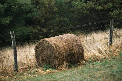 Barbed Wire Fence And Hay Roll Art Print by Raymond Gehman