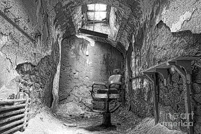 Infamous Photograph - Barber - Chair - Eastern State Penitentiary - Black And White by Paul Ward