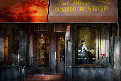 Photograph - Barber - Ny - Greenwich Village - West Village Barber Shop  by Mike Savad