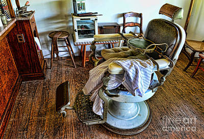 Brown Clipper Photograph - Barber Chair With Child Booster Seat by Paul Ward